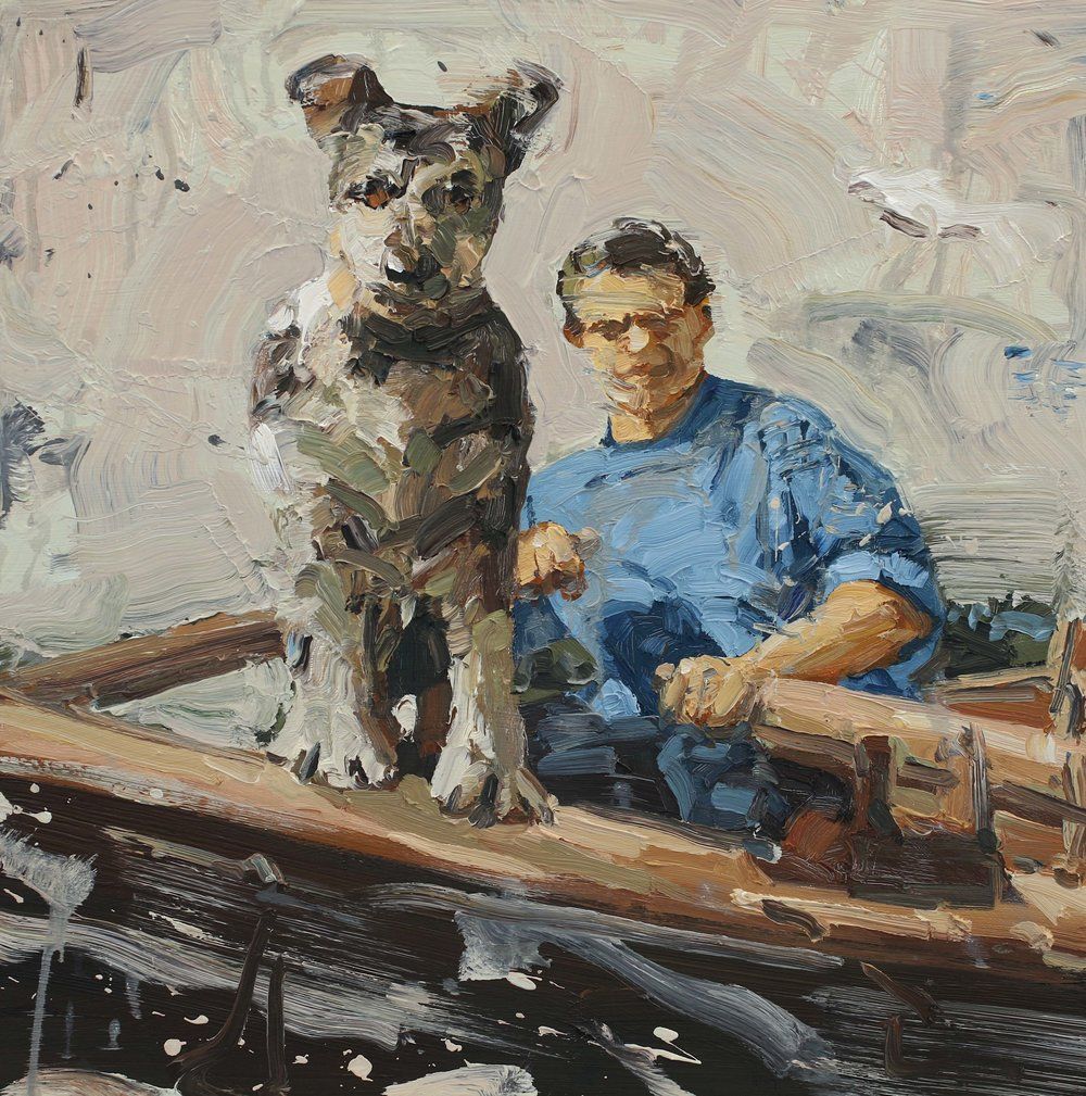 Skipshund – 55x55 cm – Eggoljetempera på lerret. RJD Gallery