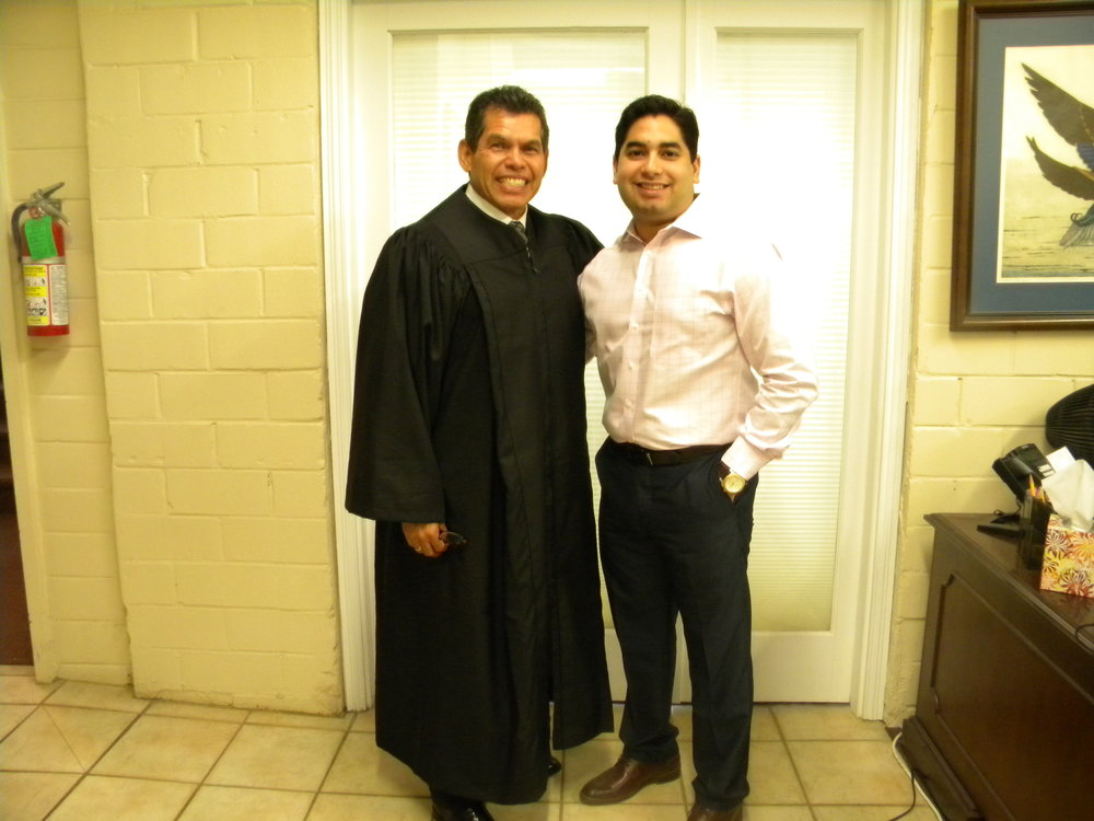 Municipal Judge Terry Palacios,  Left  Jay Garza,  Right