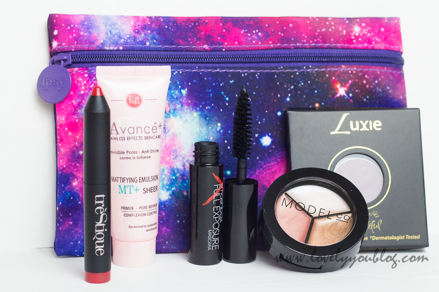 An Ipsy Glam Bag, as reviewed by beauty blogger Natasha at http://www.lovelyyoublog.com