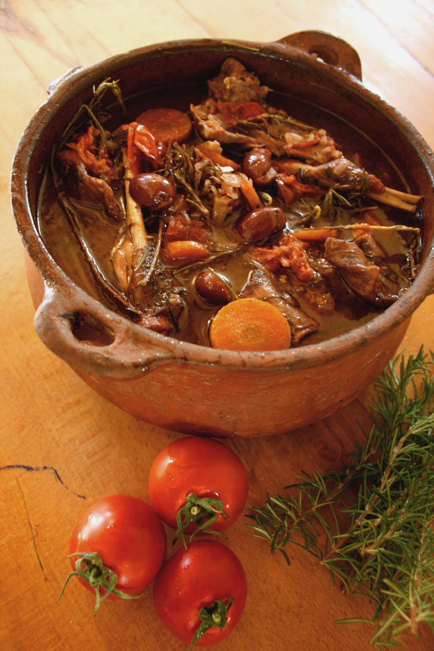 Rabbit and rosemary stew