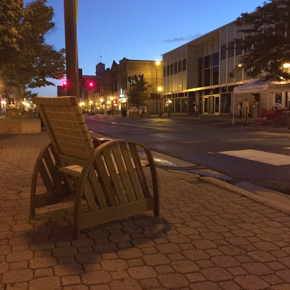 A Sabbath Chair lingering on St. Germaine after the St. Cloud art crawl.