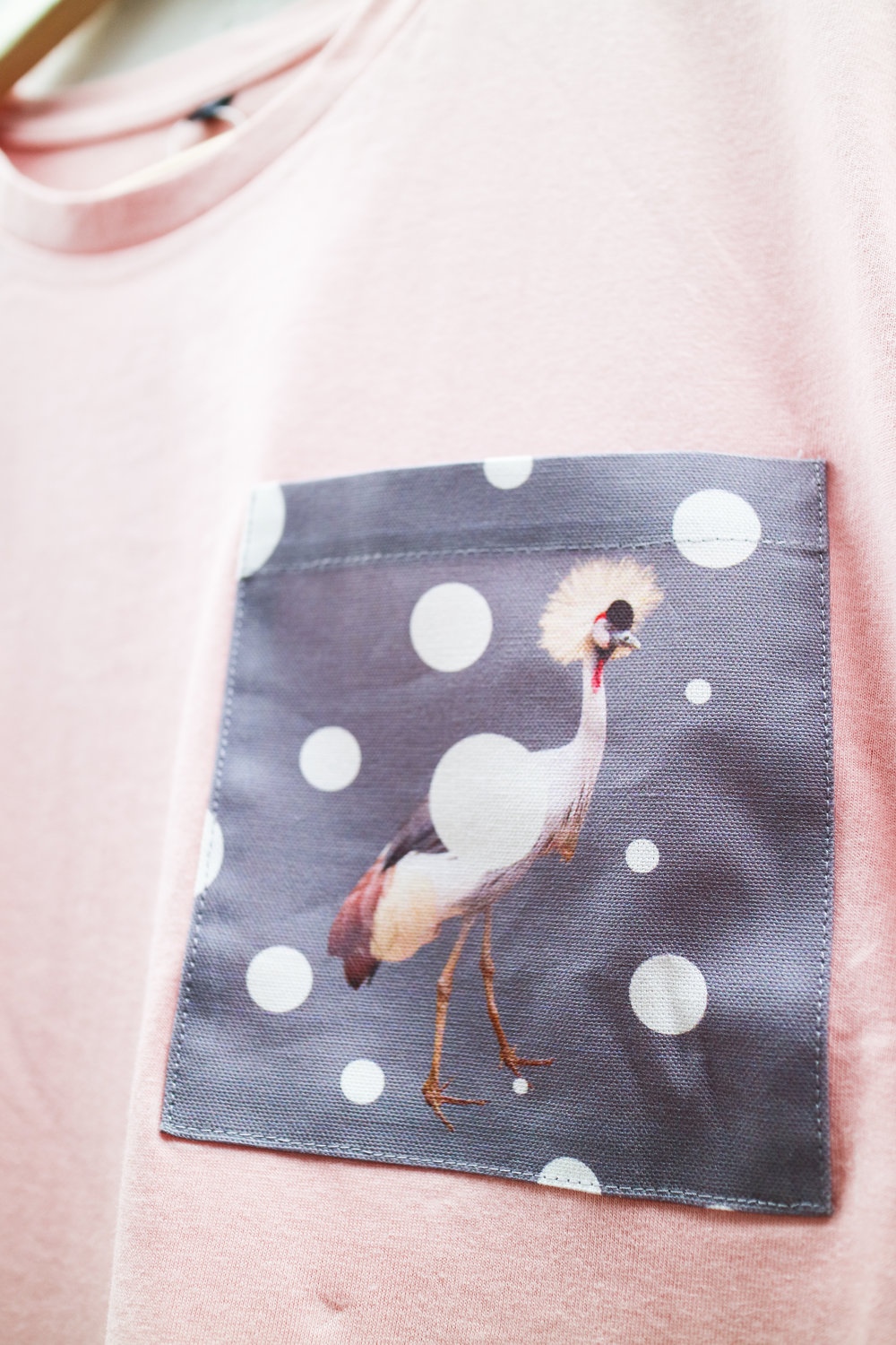 Pink T with Quirky Crown Bird