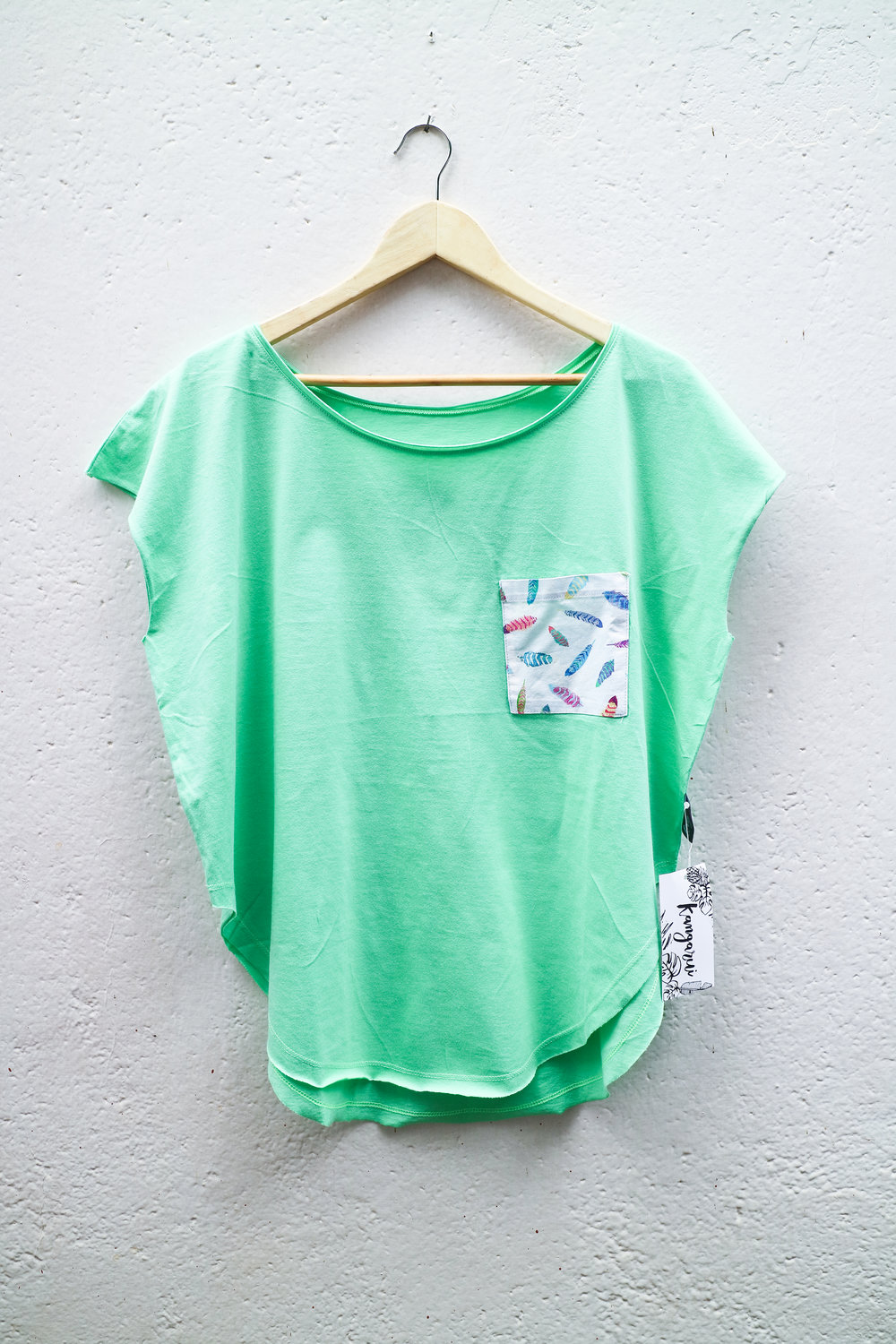 Mint T with Get Together Feathers