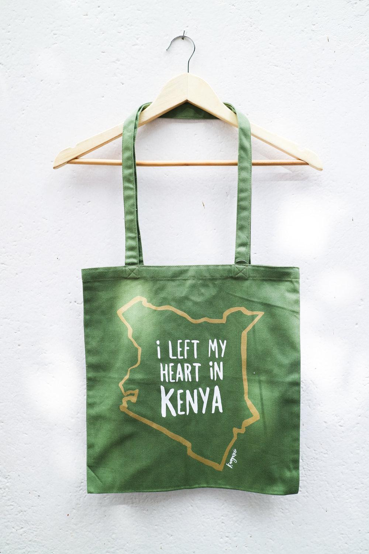 I left my heart in Kenya Tote Khaki