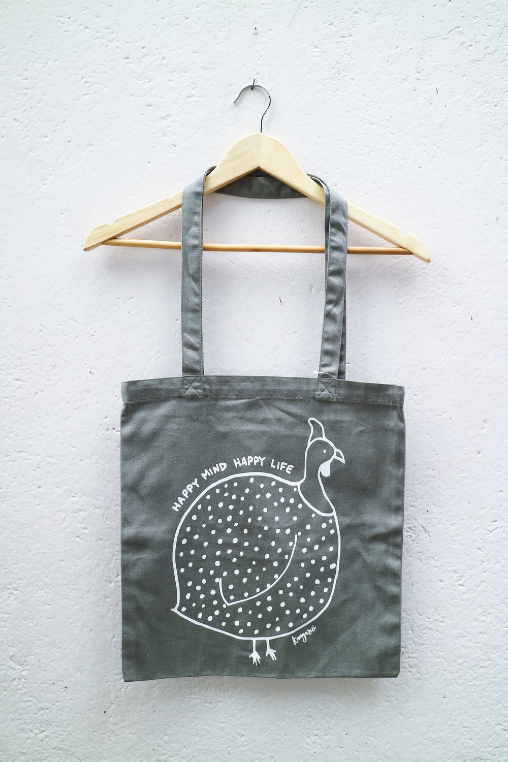 Happy Mind Canvas Tote Grey