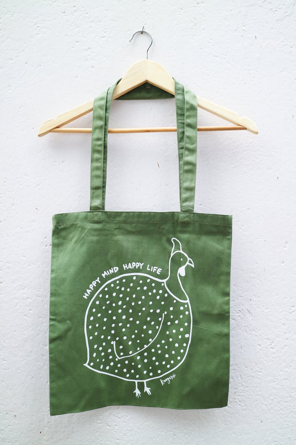 Happy Mind Canvas Tote Khaki