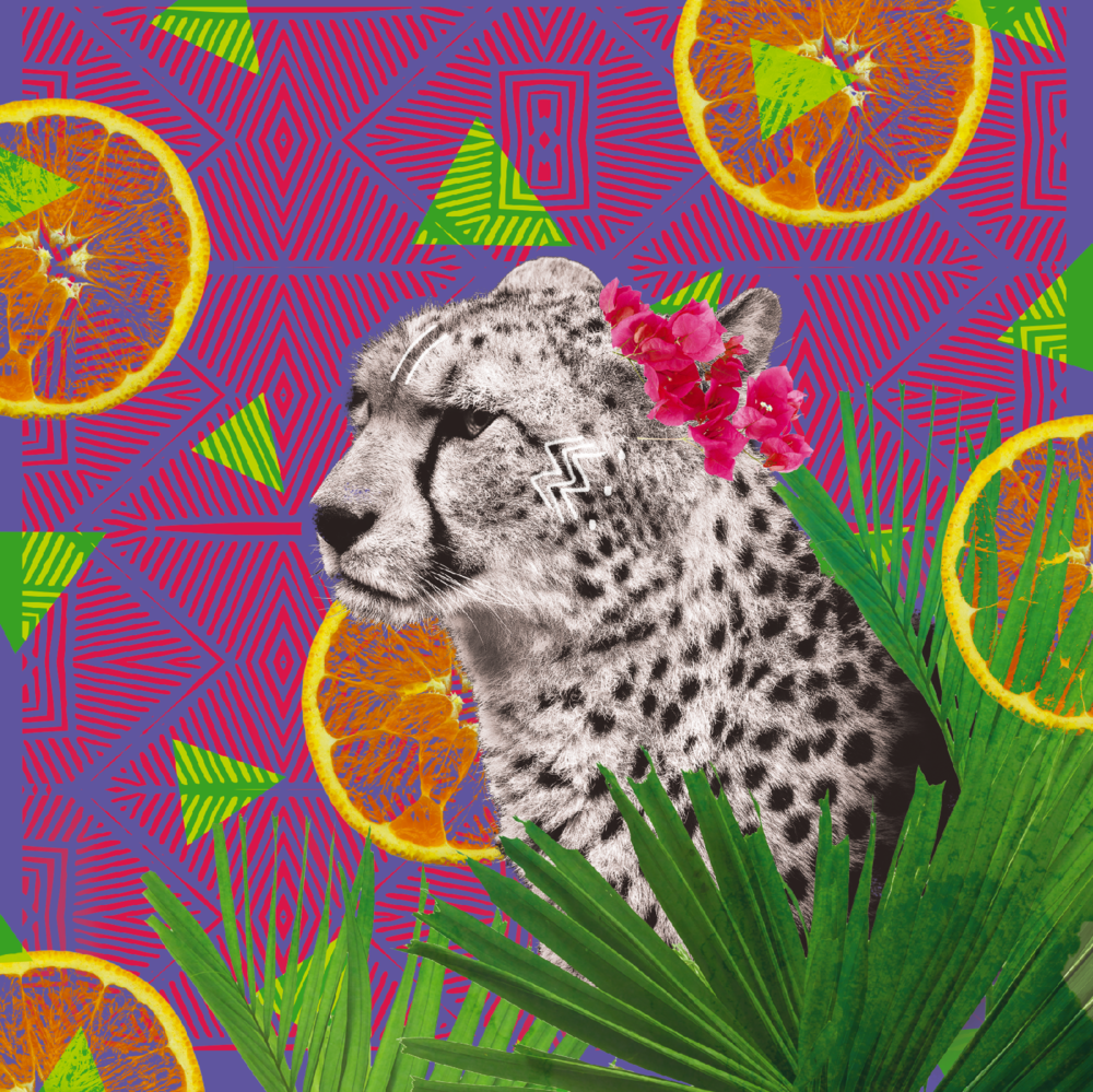 FESTIVE CHEETAH    For this zingy design, Rui offset a crowned cheetah with vibrating tessellations and flat orange segments for a fresh look that recalls the frenetic bursts of energy that cheetahs are famous for.