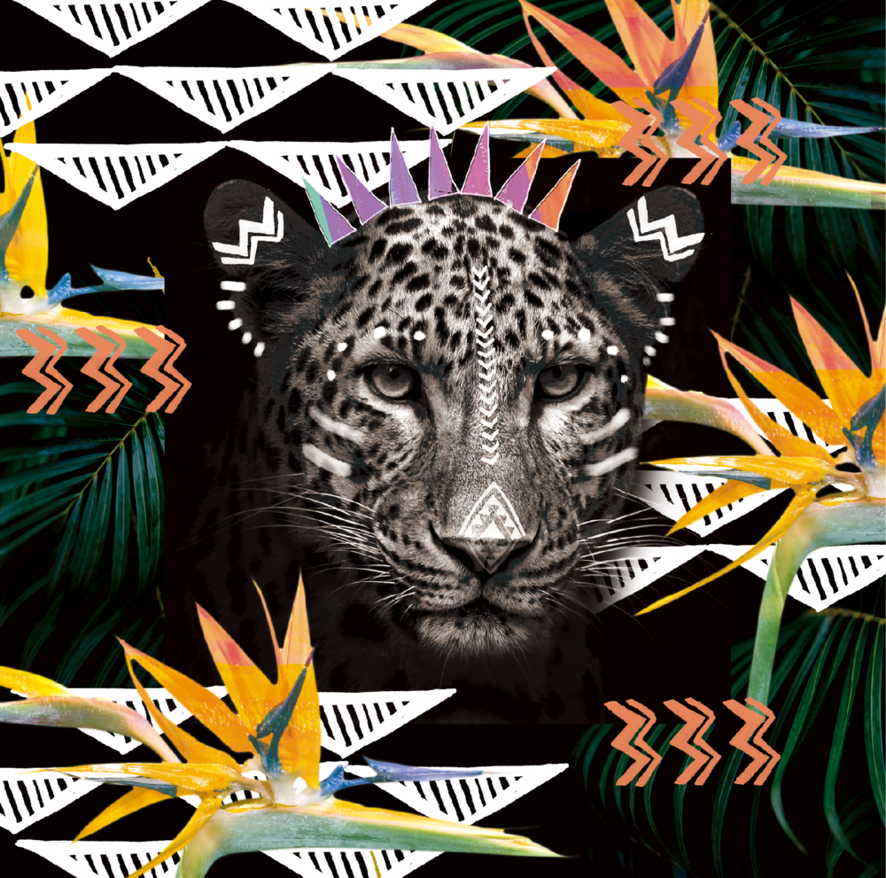 FIERCE LEOPARD    Of the Big Five, leopards are surely the most difficult to find—and if you are lucky enough to spot one, you'll remember the moment. For Rui, it was in Samburu, the leopard settled in between branches of a yellow acacia tree, gazing unabashedly right at her. Here in this design, she recreates that midnight gaze.