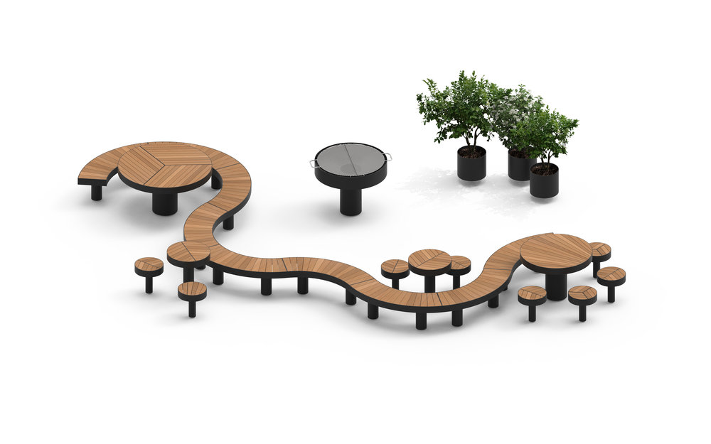 Example furnishing public space Elements by Claesson Koivisto Rune