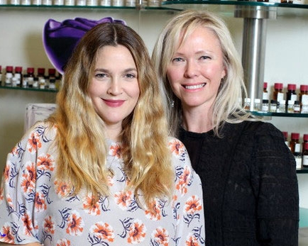 Petra Moss-Tucker with FLOWER founder Drew Barrymore