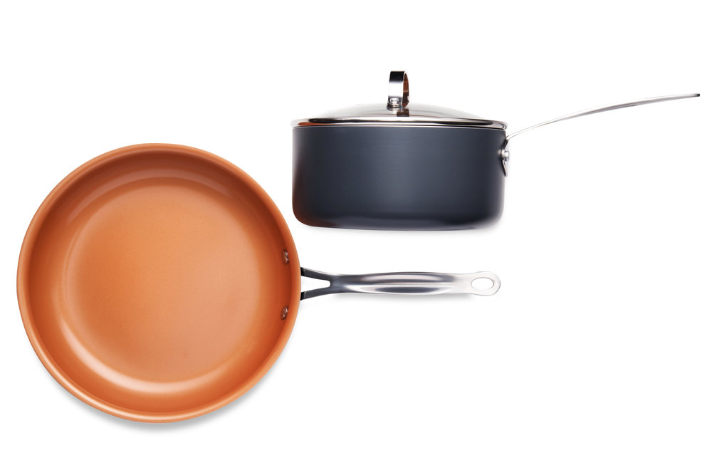 "11"" Gotham Steel round pan & 2 QT Stock pot (pictured above)."