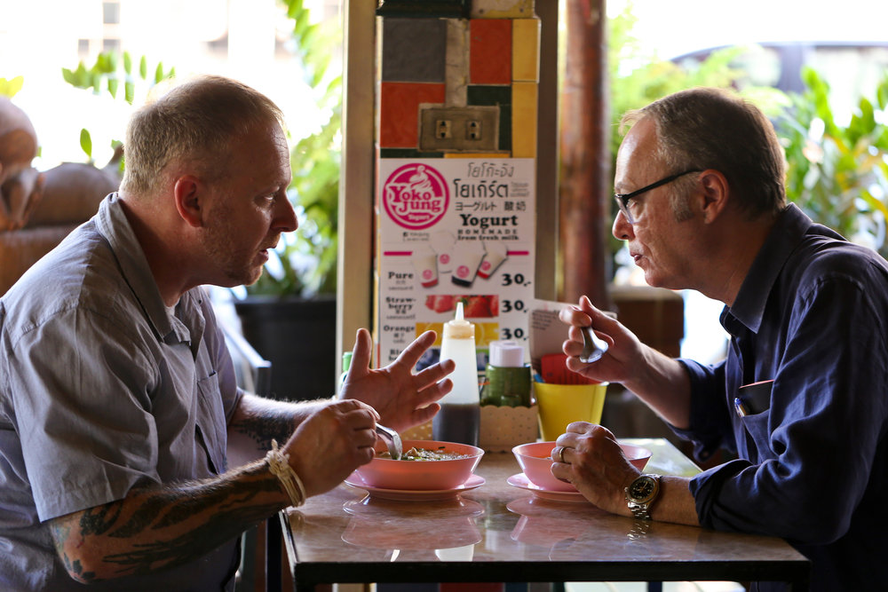 Christopher Kimball with Andy Ricker in Chiang Mai, Thailand. Andy taught Chris a number of quick, easy Thai dishes. An episode of Milk Street Television—coming in September 2017—will feature Andy and his recipes.