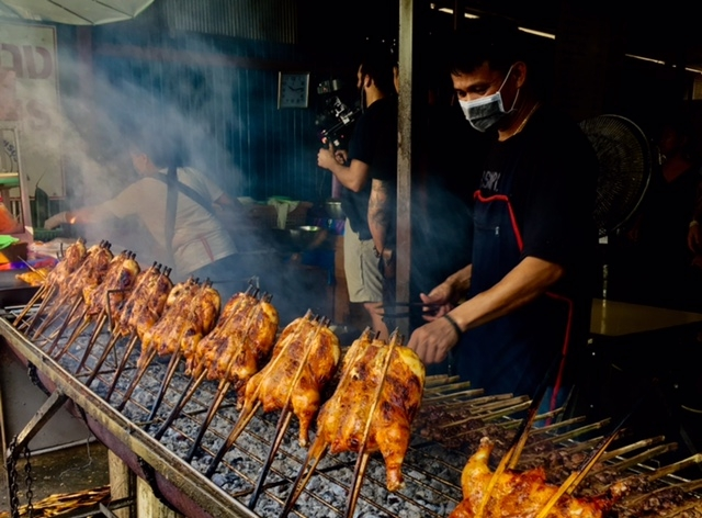 This grilled chicken restaurant uses water-soaked bamboo skewers to move chicken closer to or further from the heat. The marinade and barbecue sauce were outstanding; Milk Street is developing recipes inspired by these for an upcoming issue of our magazine.