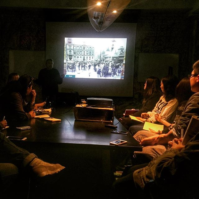 What a treat! Enjoying a lecture from Gerald Garner on the history of Johannesburg!  Today we welcome Urban Design students from  Washington University in St Louis to Jeppestown where they are in residence here for a field studio for the next 6 weeks.  #urbandesign #washingtonU #jeppestown #bjala #urbanists @fieldworksdesigngroup