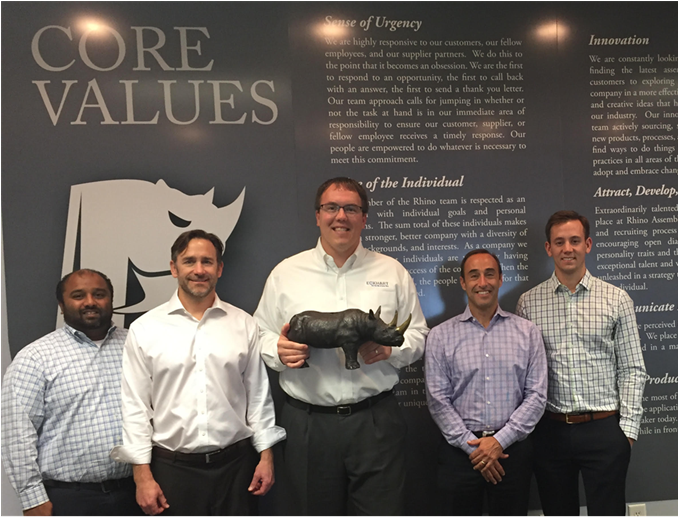 From left to right in the photo: Mal Hulbanni (Eckhart Vice President of Business Development), Leif Anderson (Co-Owner of Rhino Assembly), Andy Storm (Eckhart President & CEO), Dan Brooks (Co-Owner of Rhino Assembly), and Dan Burseth (Autocraft Vice President & General Manager)