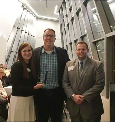 From left to right in the photo: Stephanie Schanher (Eckhart Director of Human Resources), Andy Storm (Eckhart President & CEO),and Chad Borodychuk (LCC Director of Corporate Training & Continuing Education)