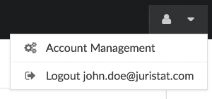 Access your Account Management options by hovering over your user icon.