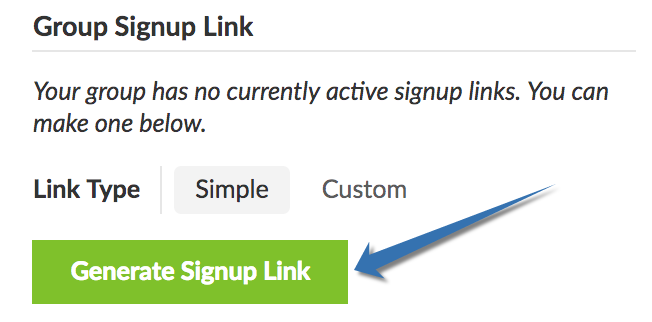 Your Group Management tab provides options to create either a simple or a group signup link.