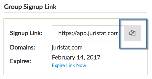 "Click the ""copy"" button to copy the custom signup link  to your clipboard."