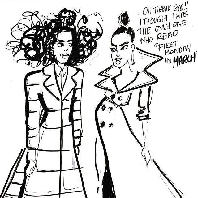 🍂🌨always check the forecast before you #metgala . . . #priyankachopra #solange #winterwonders #metball #metgala #redcarpet #livetoon #chictoon #fashion #illustration #quickdraw