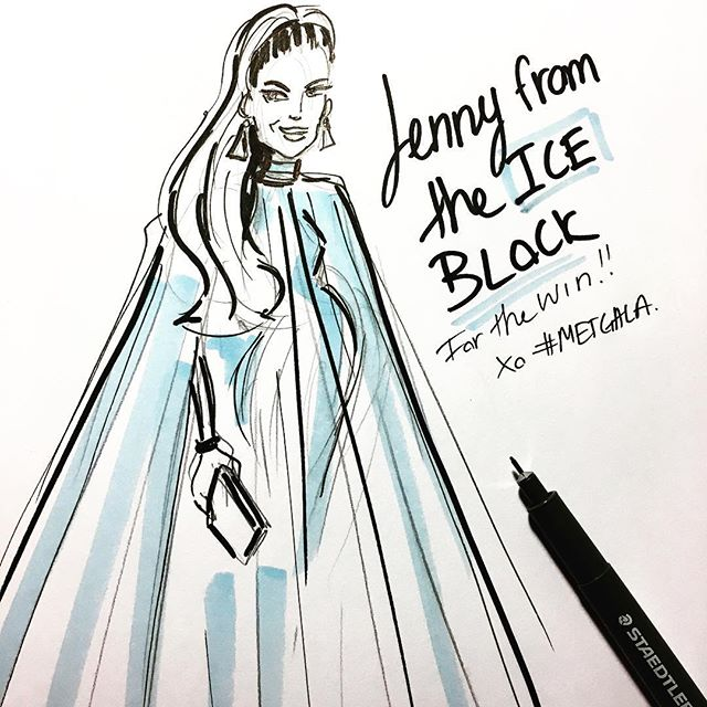 Thanks for #Tooning in! xx . . . #jennyfromtheiceblock #jlo #jenniferlopez #metgala #metball #livetoon #chictoon #quicksketch #redcarpet #fashion #illustration #cartoon #firstmondayinmay