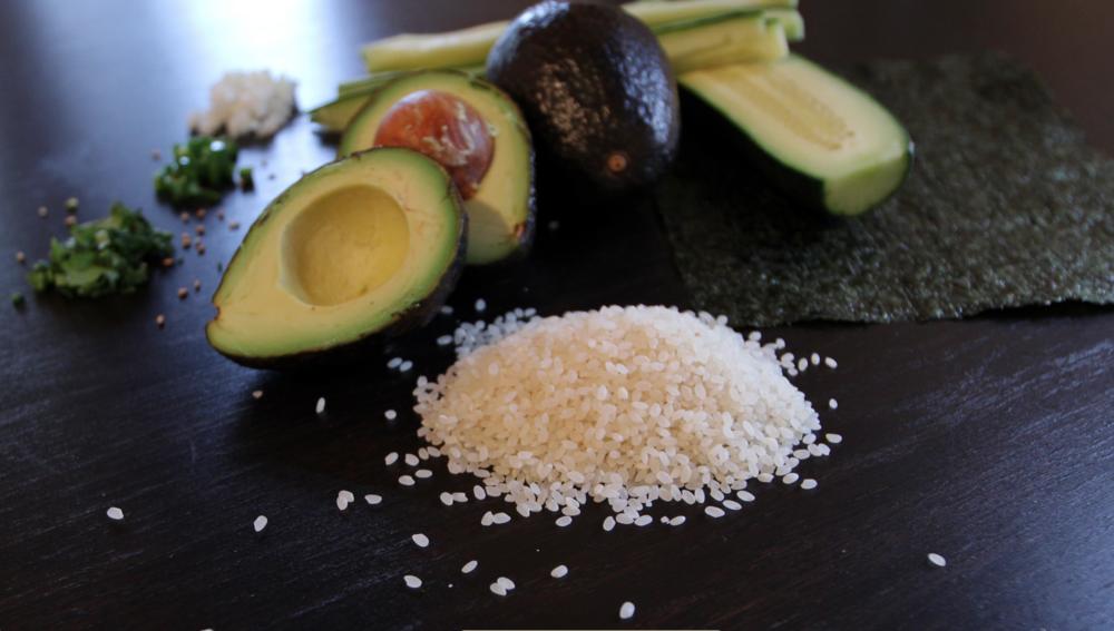 Mexican vegetarian sushi ingredients