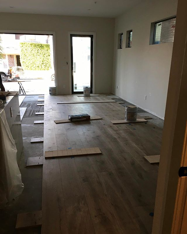 "Work in progress, and it's going to look INSANE when complete. Can't wait for this beauty to hit the market!  Builder: @rinconhomes  Designer: @serendipitedesigns  Spec: 9"" wide Euro Oak, Wire Brushed, Urethane Finish.  #warrenchristopher #warrenchristopheroc #warrenchristophercollection #woodfloor #woodfloors #woodflooring #customwood #customwoodflooring #eurooak #frenchoak #wideplank #wideplankfloors #ihavethisthingwithfloors #rinconhomes #eastbay #serendipitedesigns"