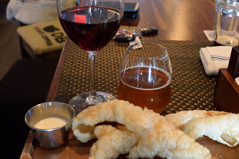 Pork skins are amazing and go well with a Belgian Tripel or wine - not so much with car keys in the background.