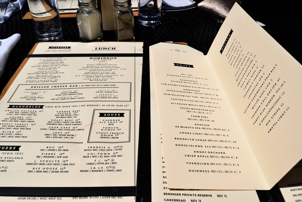 Normal menu on the left... beer menu on the right. Plenty to choose from.