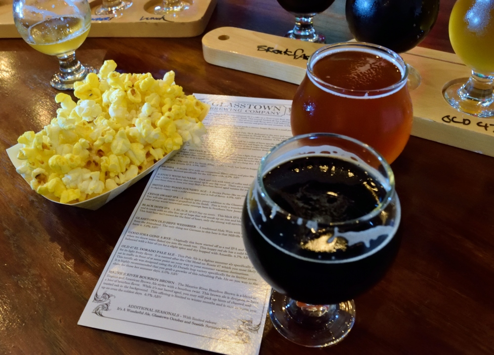 Beers and popcorn await you at Glasstown Brewing Company.