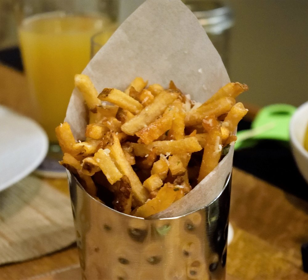 I see you, beer... hiding behind those sexy fries.