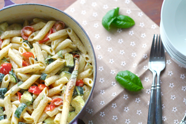 Penne with Zucchini, Tomatoes, and Boursin Cheese