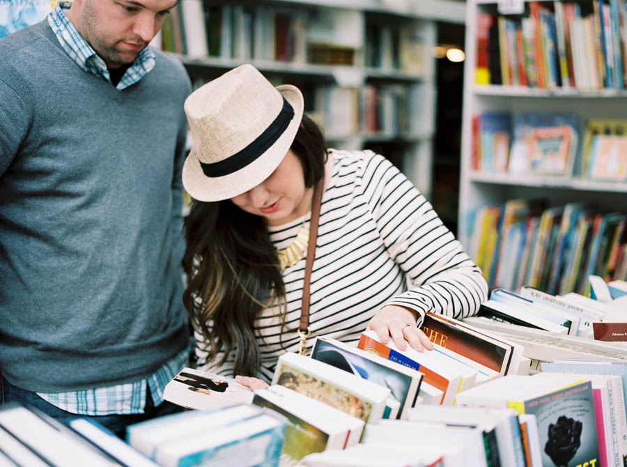 nashville documentary bookstore record shop engagement session relaxed film photographer ©2016abigailbobophotography-7.jpg