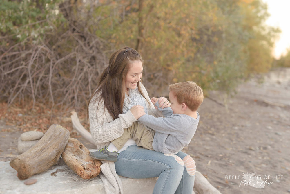 Niagara Ontario Mama and Son Portraits on the beach