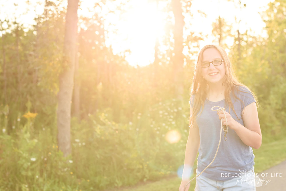 Girl walking down the path at sunset in Niagara Ontario Canada