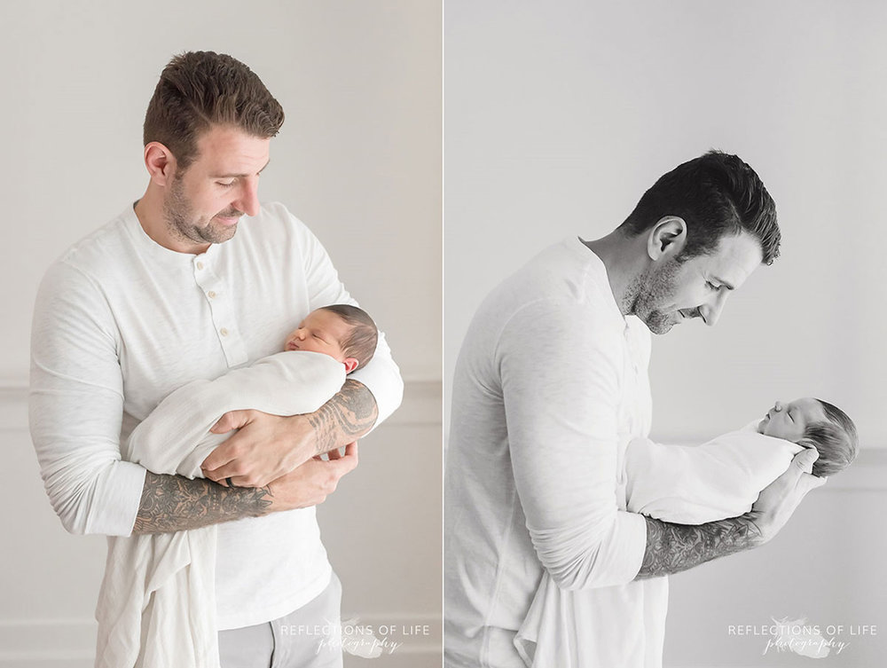Newborn baby collage of daddy holding baby boy