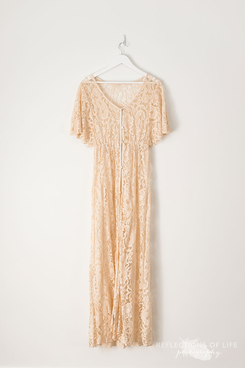 Sheer Light Tan Lace Dress