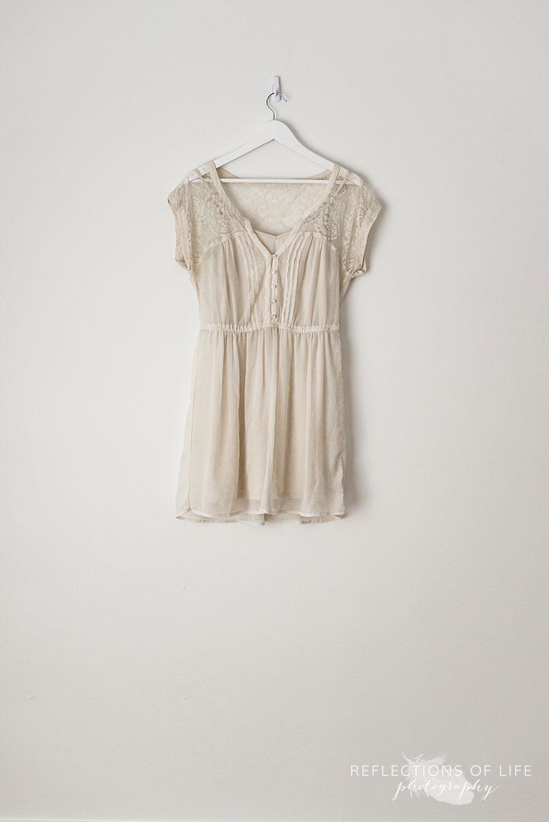 Cream Capsleeve Sheer Dress