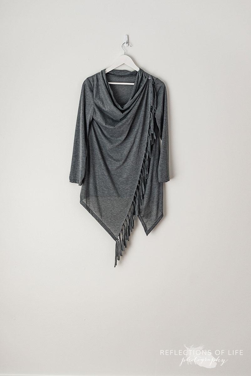 Dark Grey Fringe Detail Long Sleeve Top