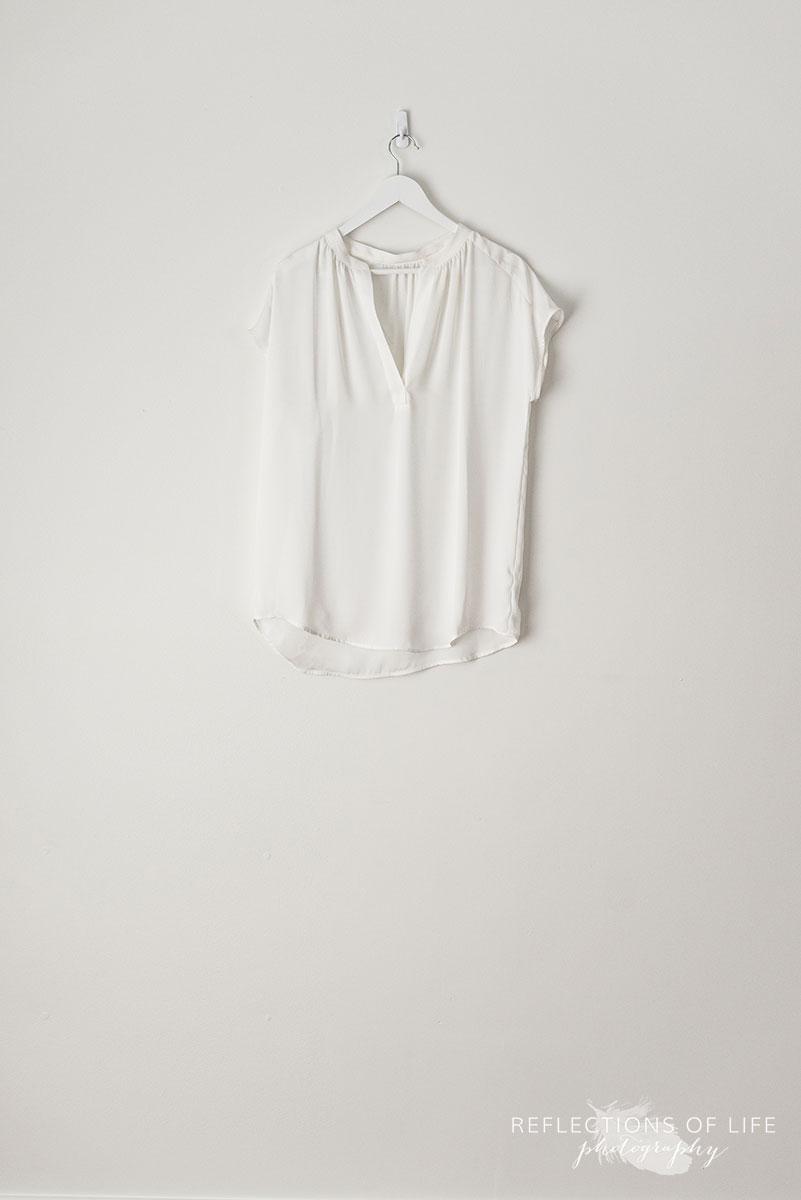 White Capsleeve V-Neck