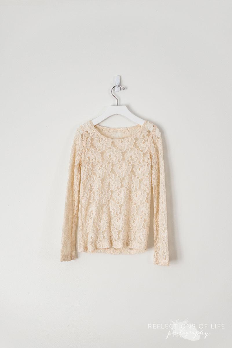 Cream Sheer Lace Longsleeve Top