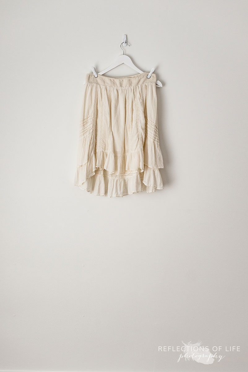 Cream High-Lo Ruffled Skirt
