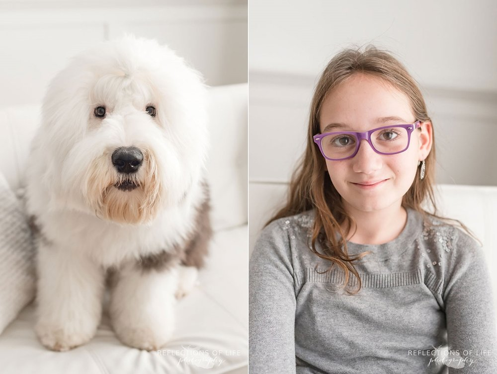 old english sheepdog and young girl happy smiling
