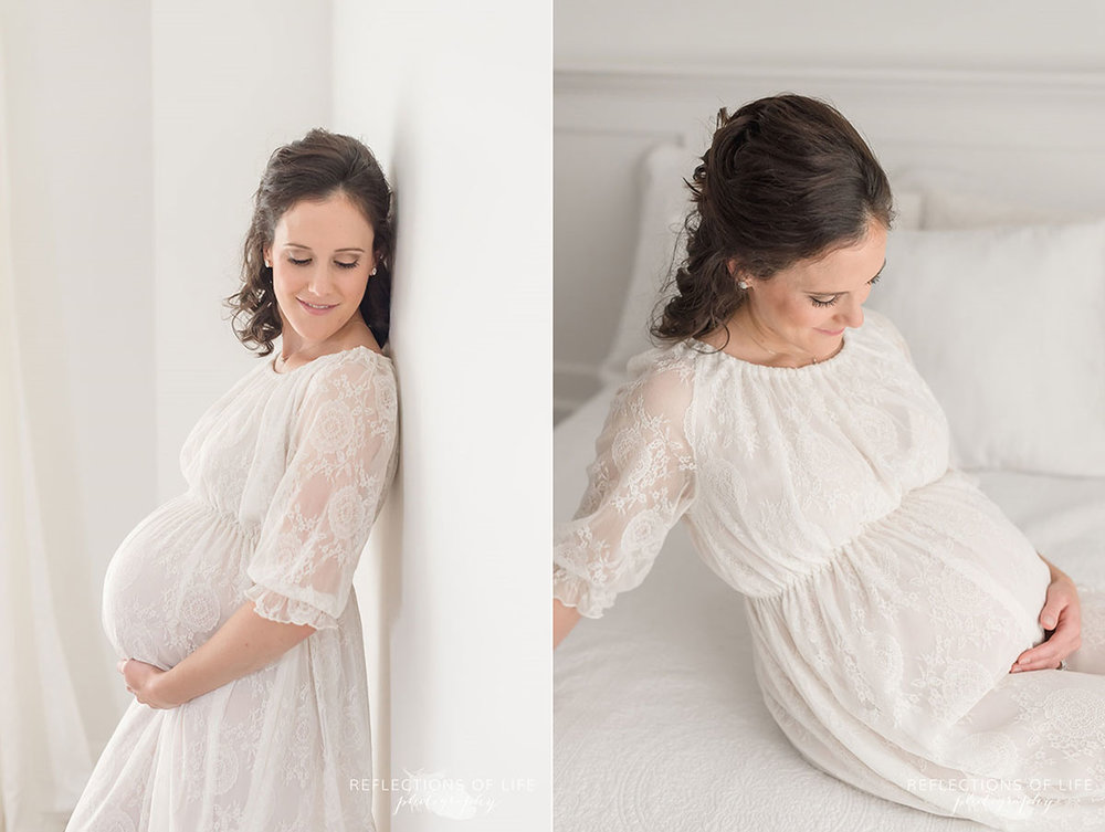 pregnant mom in beautiful lace gown