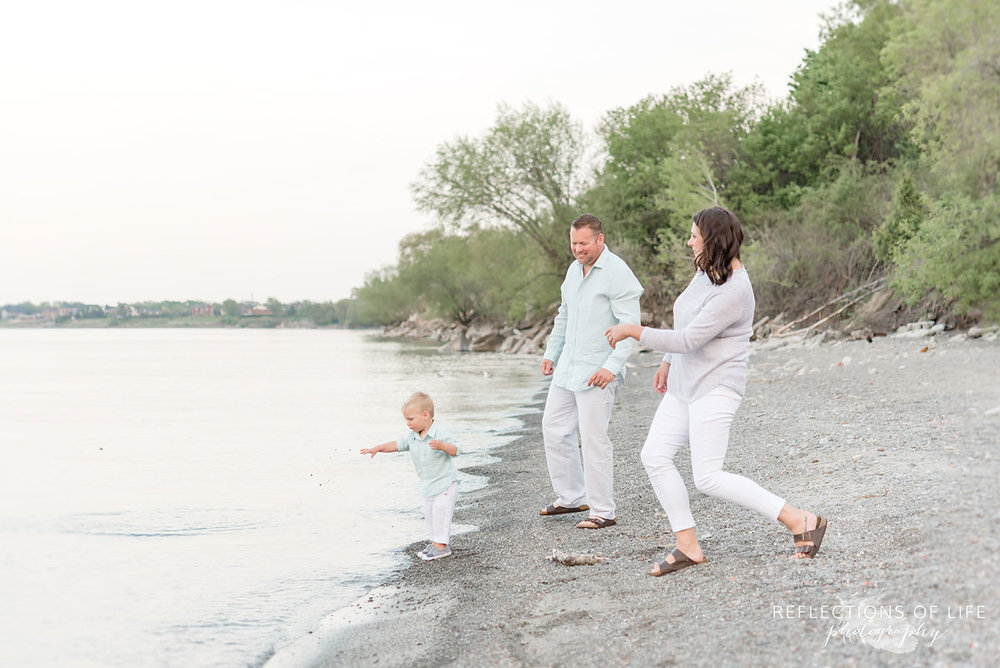 Niagara Family Photographer of young families at the beach in Grimsby Ontario
