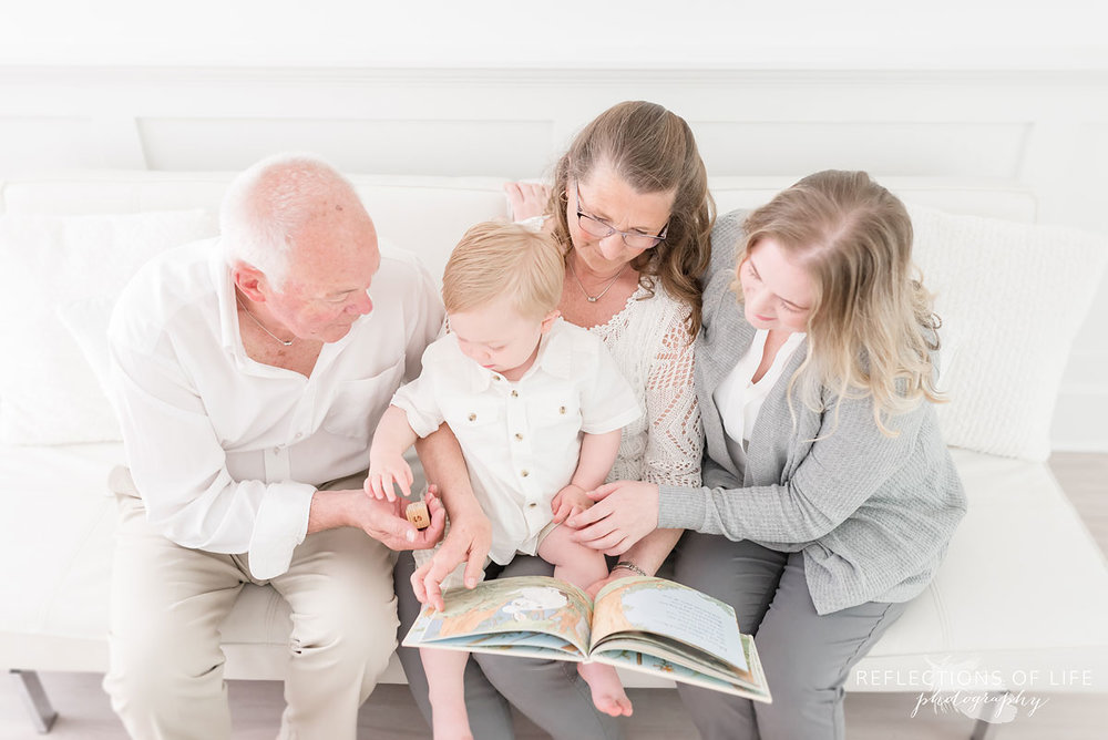 Family reading together photography