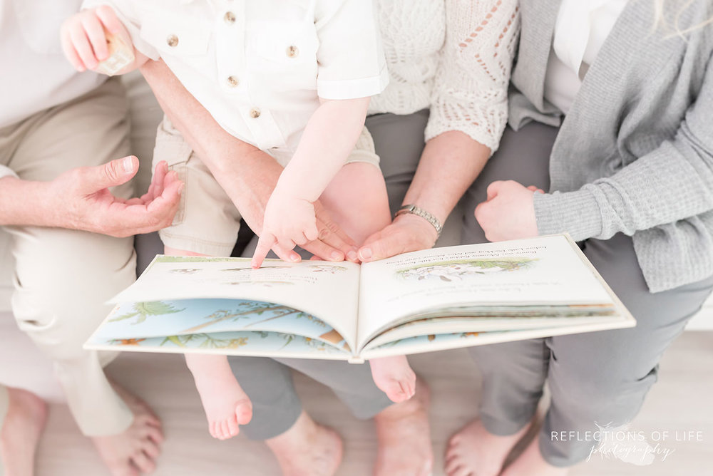 Family with book photography