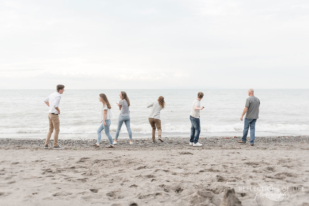 Fun family connection at the beach in Grimsby Ontario Canada