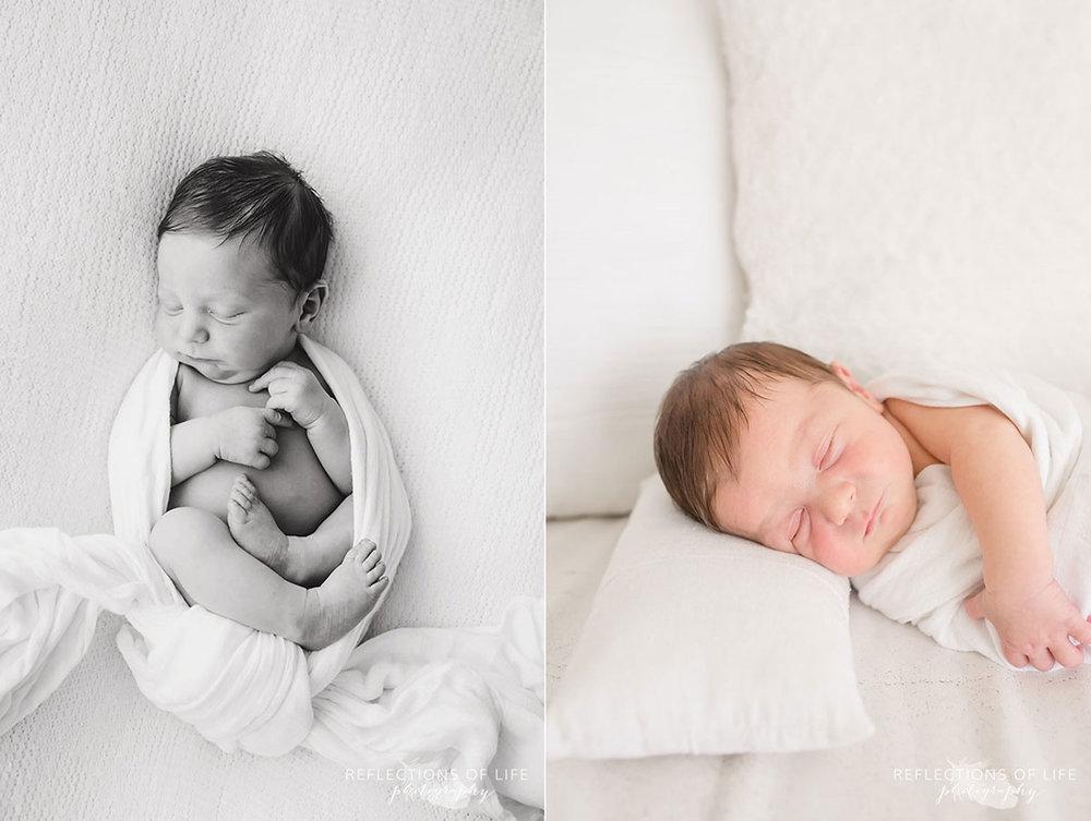 newborn baby boy wrapped in white