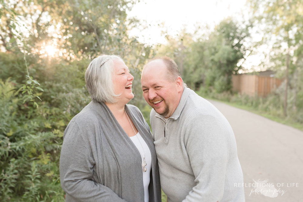 Husband and wife laughing in Grimsby Ontario